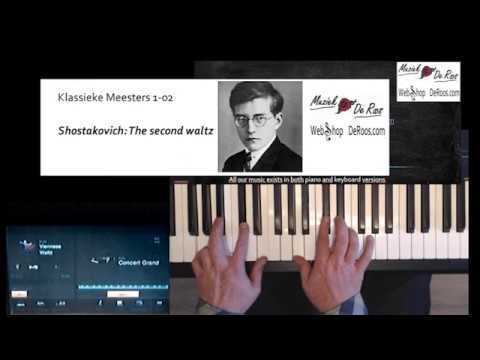 Keyboard Classics, Shostakovich, Second Waltz. Play along, Learn to play, score bladmuziek