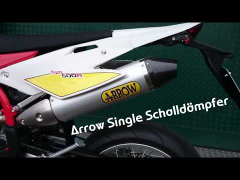 SWM RS 300 SM / RS 500 R Arrow Single Schalldämpfer Exhaust Sound Check