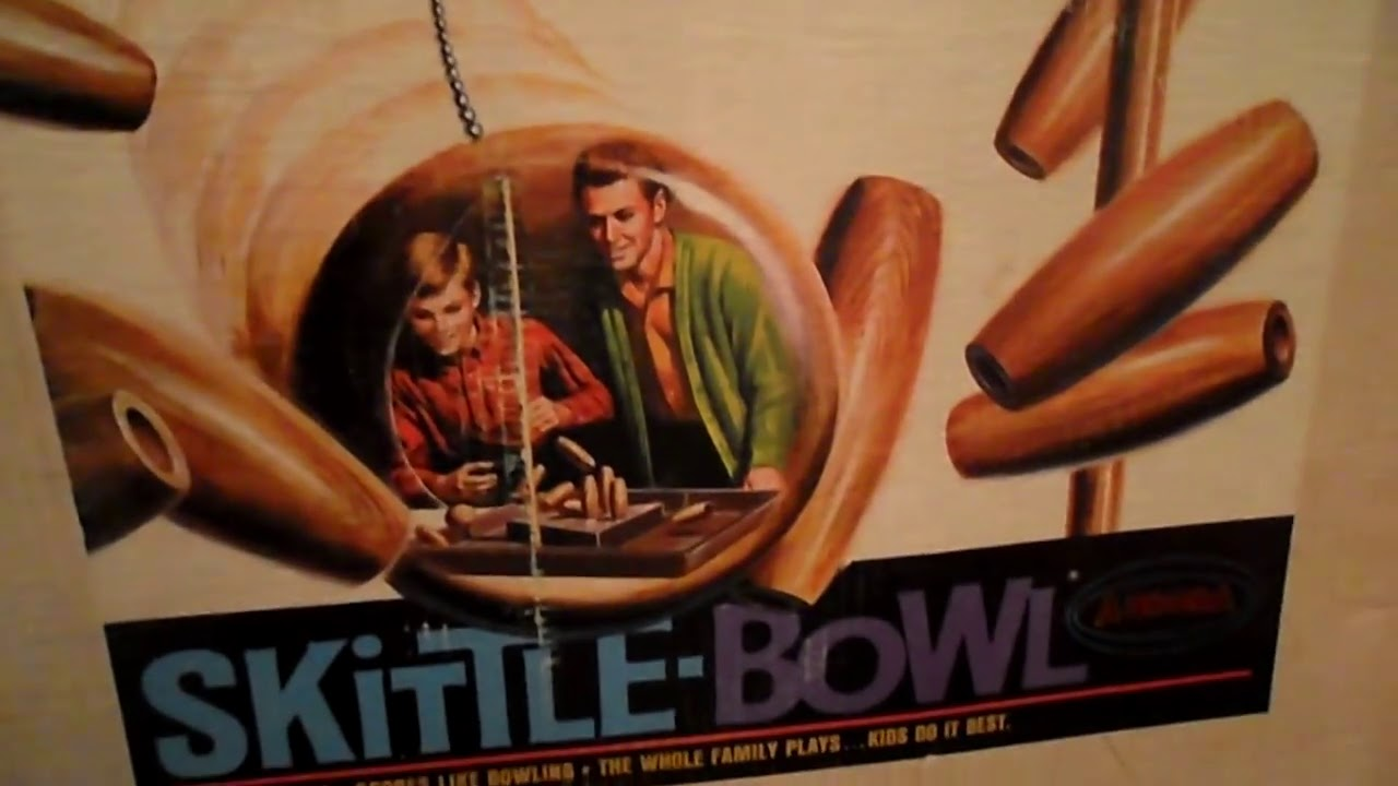 Playing Rare Vintage English Pub Wooden Skittle Bowl