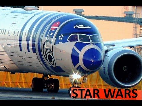 """3 STAR WARS """"R2-D2"""" """"BB-8"""" """"C-3PO"""" ANA Jets recorded at Tokyo Narita- and Haneda Airport"""