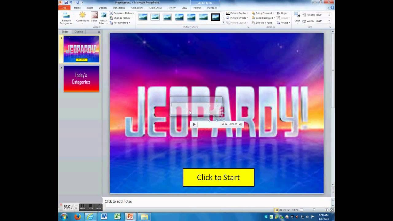 powerpoint jeopardy game part 1 (making the first few slides, Powerpoint templates