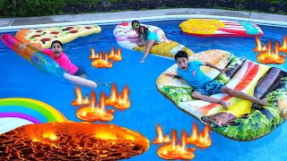 The Pool is Lava challenge with HZHtube Kids Fun