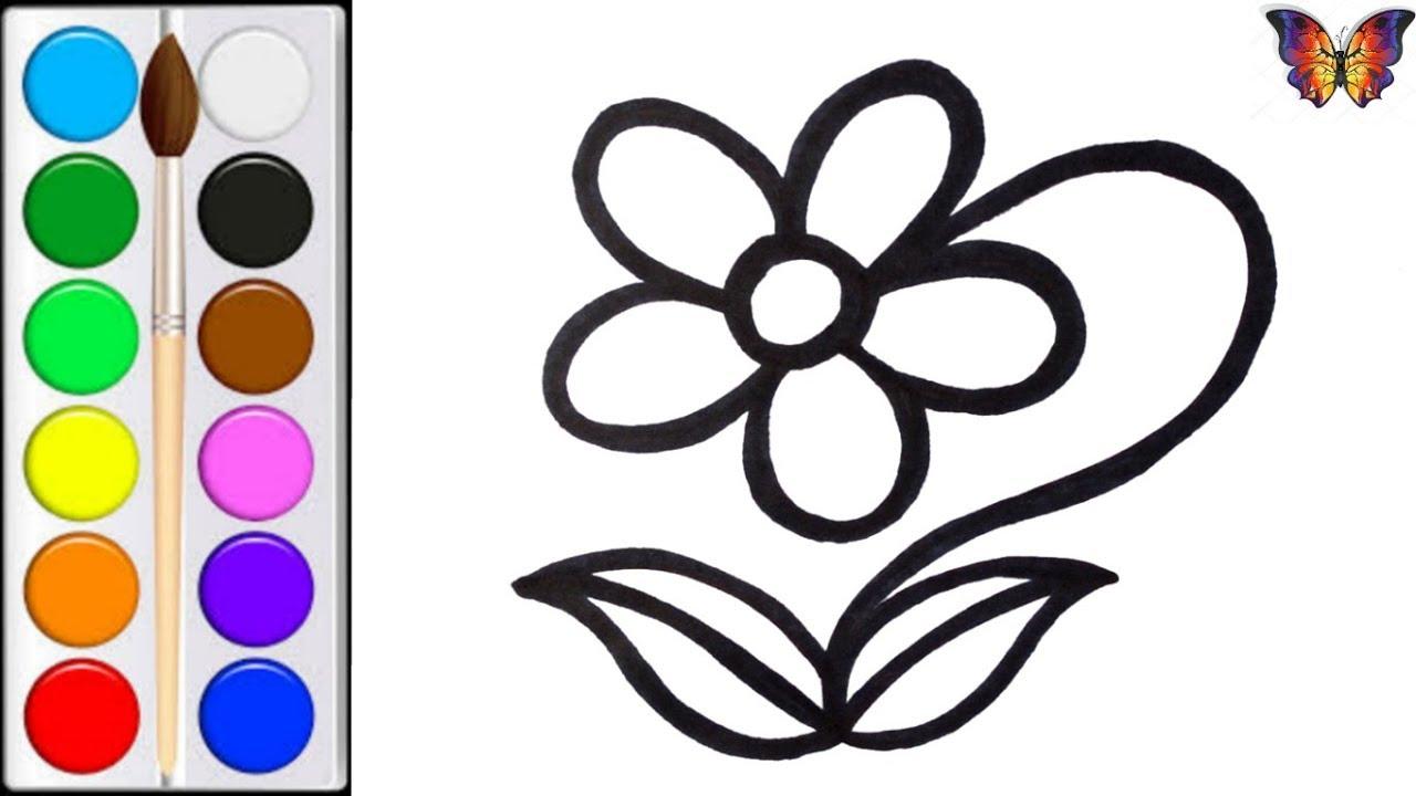 Как нарисовать ЦВЕТОК / мультик раскраска ЦВЕТОК для детей ...