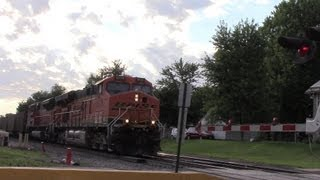 BNSF Coal Train Sounds Horn In Quiet Zone 07/23/13