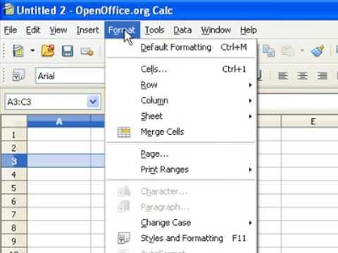 Open Office Calc - Merge cells