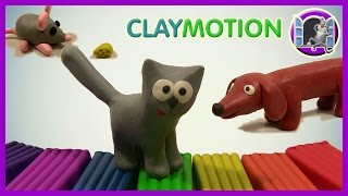 МЫШЬ, КОШКА И СОБАКА ИЗ ПЛАСТИЛИНА | CLAYMOTION | A MOUSE, A CAT AND A DOG FROM CLAY