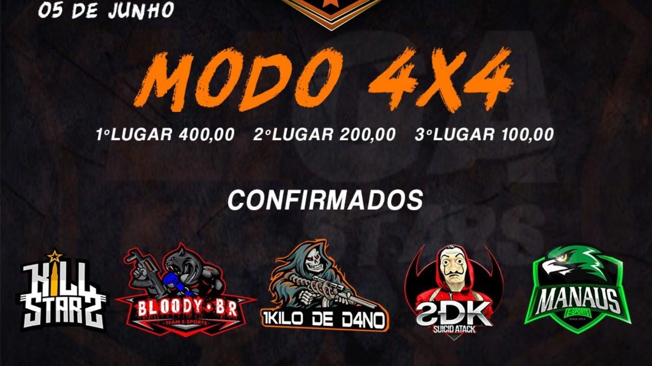 2º FASE LIGA KILLSTARS 4X4 - O MODO CONTRA SQUAD MAIS COMPETITIVO DO FREE FIRE!!!