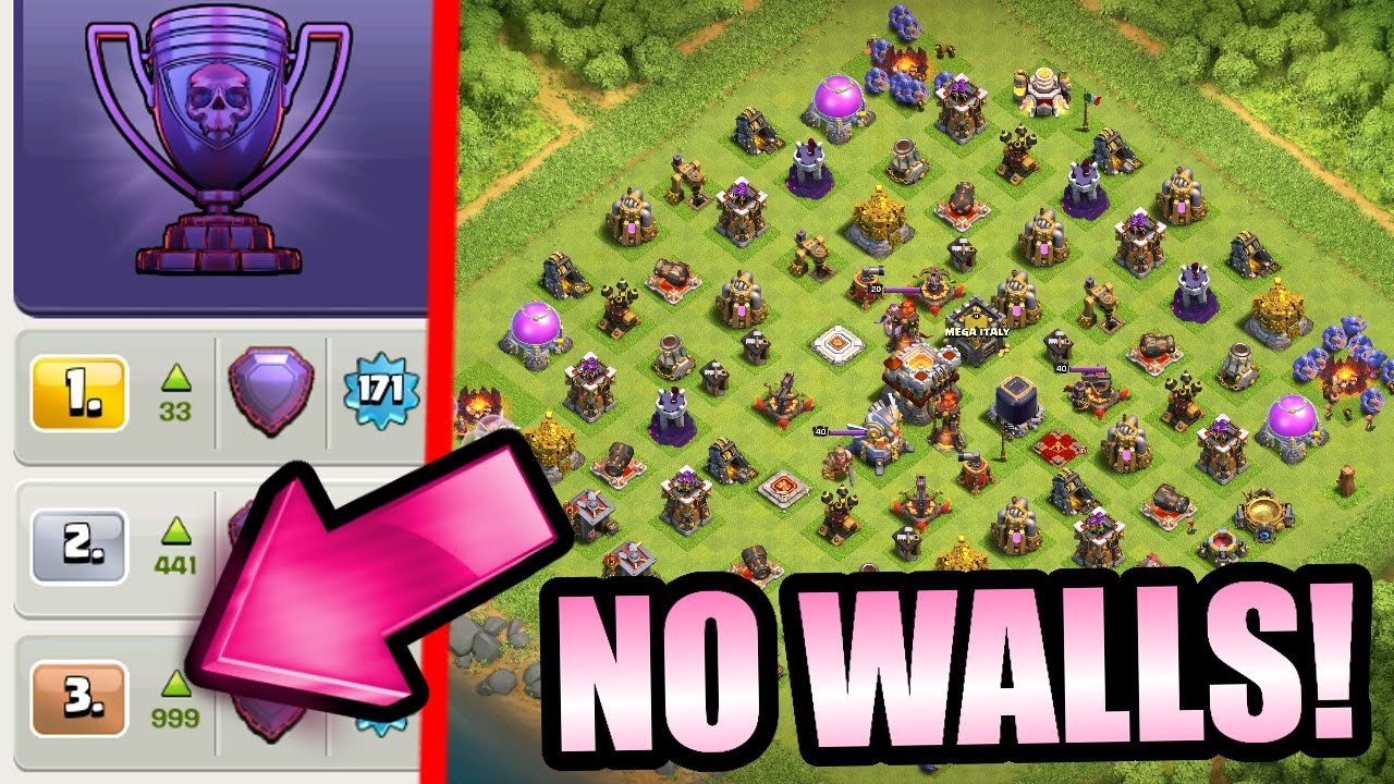 Clash Of Clans - MOST INSANE CoC BASE EVER! - LEGEND LEAGUE WITH NO WALLS!