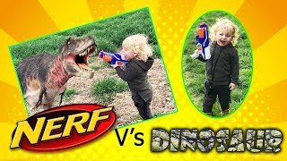 NERF BATTLE WAR AGAINST DINOSAURS || extreme toys for kids