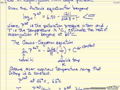 Lecture 74: Heat of Vaporization: Antoine's Equation