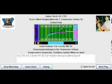 Week 3: West Virginia Nimrods (1-1) @ Tennessee Tritons (0-2)