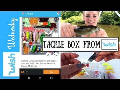 WISH APP FISHING REVIEW! TACKLE BOX, LURES SPINNERS AND RUBBER BAIT FROM WISH.COM!