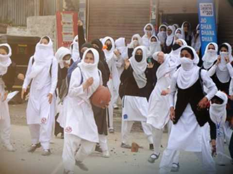 KASHMIRI girls protest against Indian brutality