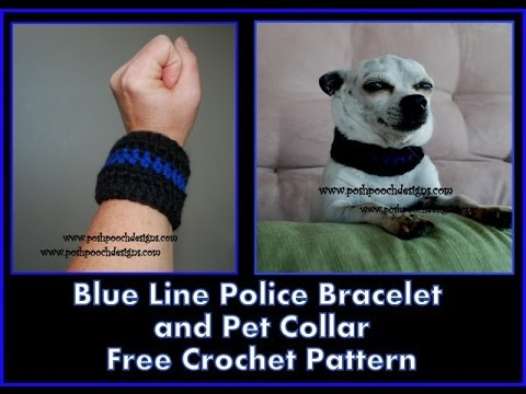 Thin Blue Line Crochet Bracelet And Dog Collar Youtube