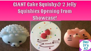 Amazing Showcase Squishy Haul! GIANT CAKE SQUISHY and 2 jelly squishes opening! *Hey It&#39s AJ*