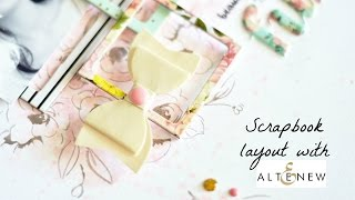 Scrapbook layout background with stamps and inks
