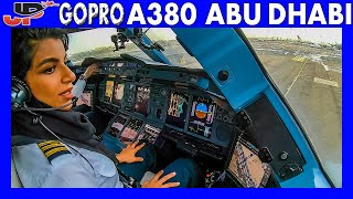ETIHAD AIRBUS A380 Takeoff Abu Dhabi | Flight Deck GoPro View