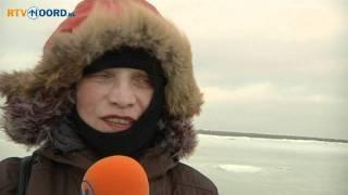 Lopen over bevroren Waddenzee
