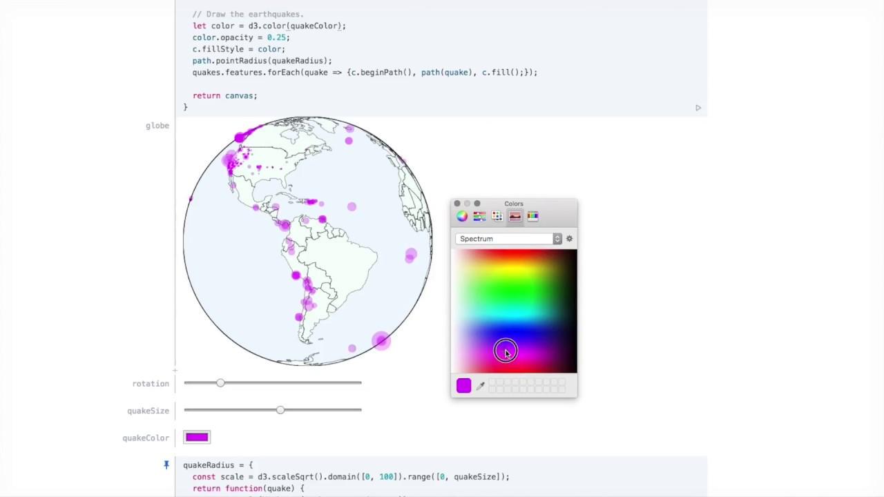 Observable: An Earthquake Globe in Ten Minutes