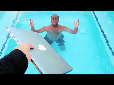 ANGRY WIFE THROWS MACBOOK PRO IN POOL!! (REVENGE PRANK)