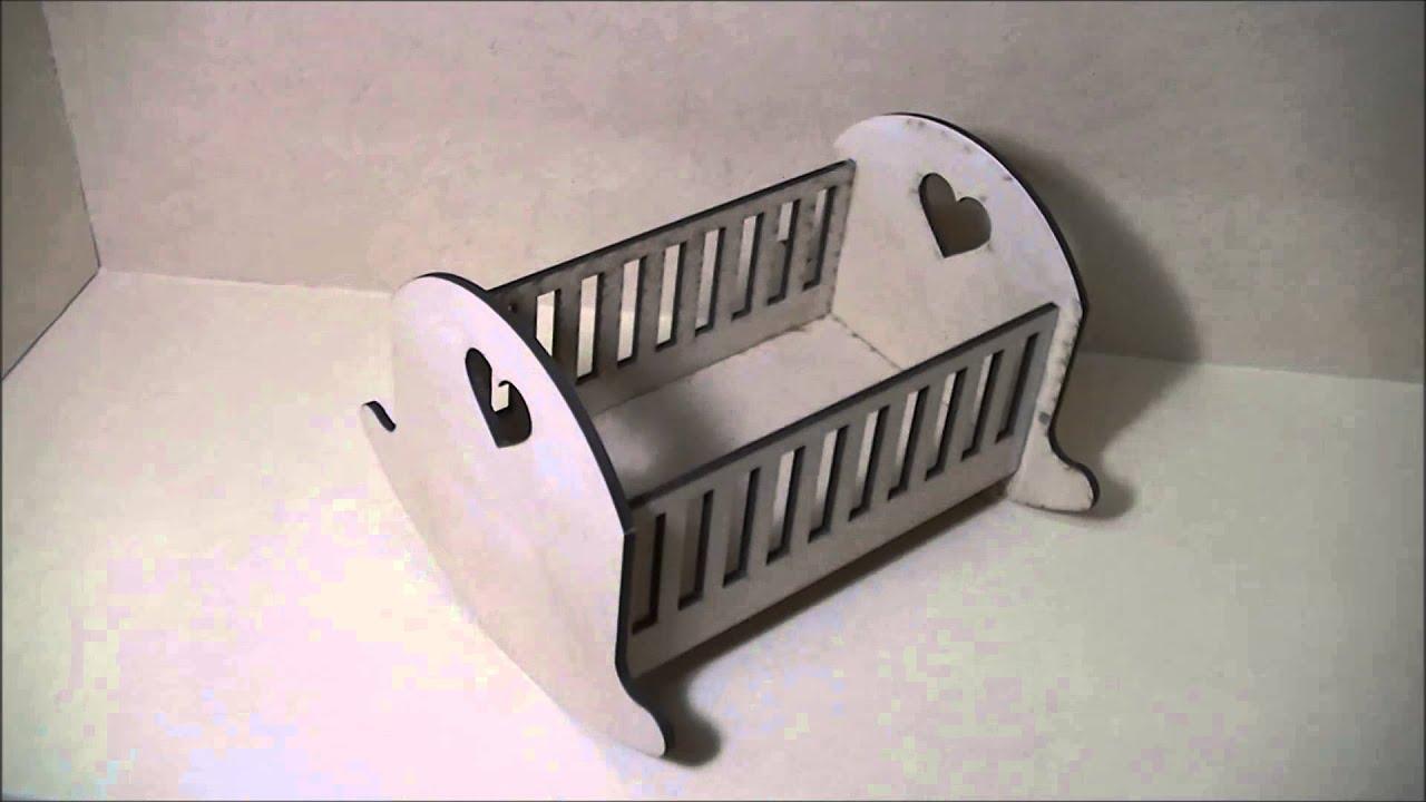 Cuna para casita de muñeca en fibrofacil - YouTube