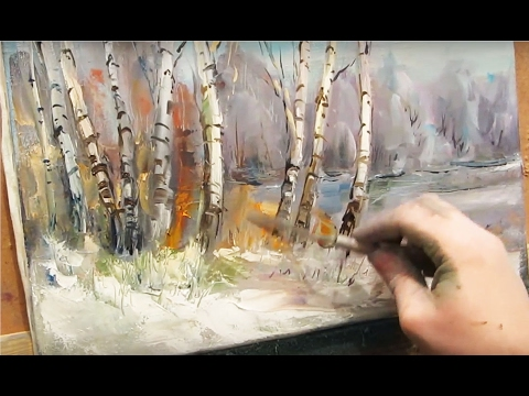 Oil painting. Spring forest.
