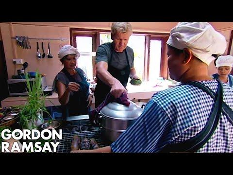 Gordon Ramsay Tries & Cooks A Traditional Fish Amok In Cambodia  | Gordon