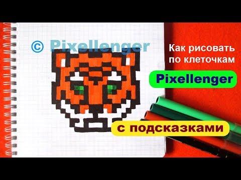 Тигр Как рисовать по клеточкам Простые рисунки How to Draw Tiger Pixel Art