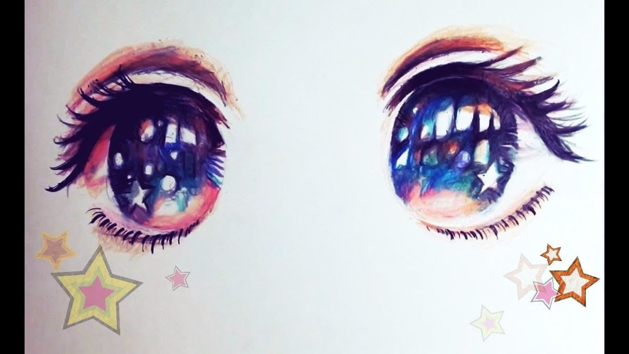 Drawing Starry Night Anime Eyes   YouTube