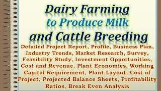 Dairy Farming to Produce Milk and Cattle Breeding Detailed Project Report, Profile
