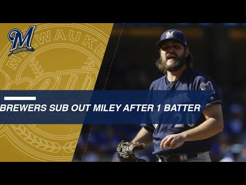 Brewers replace Miley with Woodruff after 1 batter