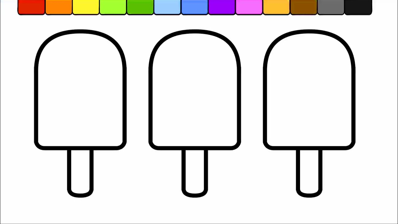 learn colors for kids and color this popsicle rainbow coloring page youtube - Printable Popsicle Coloring Pages