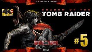 SHADOW OF THE TOMB RAIDER [4K@60fps] walkthrough part 5   Triple monitor gameplay 5760x1080