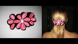 DIY Красивая заколка из лент. Канзаши. Мастер-класс \ Beautiful hairpin ribbons. Kanzashi