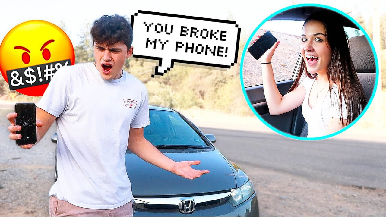 THROWING MY FIANCES PHONE OUT THE CAR WINDOW PRANK!