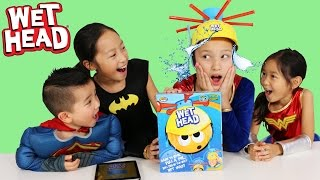 Repeat youtube video Superhero Wet Head Game Challenge Water Splashing Fun Kids Board Game Ckn Toys