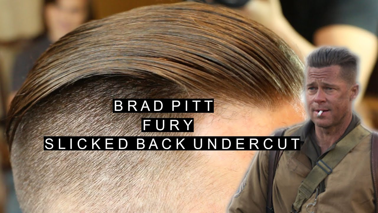 Brad Pitt Fury Hairstyle Mens Slicked Back Undercut Popular Mens
