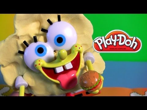 Play Doh Spongebob Squarepants Silly Faces Playset Mold a Sponge Nickelodeon playdough Bob Esponja