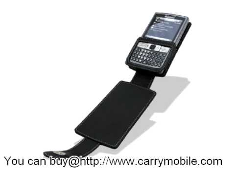 Carrymobile Leather Case for Samsung AT&T SGH-i907 Epix - Flip Down Type (Black) Ver. 2