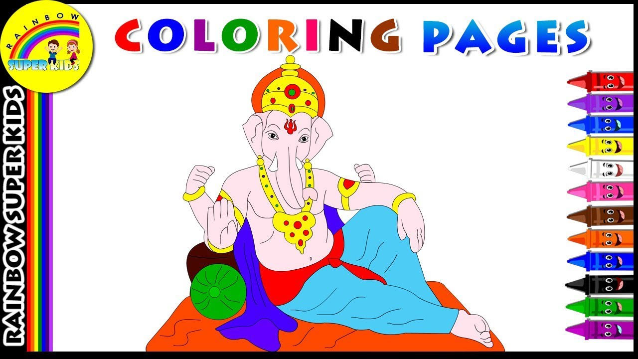 Coloring Pages for Kids | Learn Colors with Lord Ganesha | Best ...