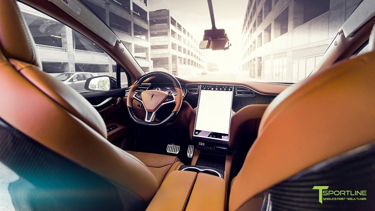 Deep Blue Metallic Model X Gets a Full Bespoke Ferrari Tan Leather Interior
