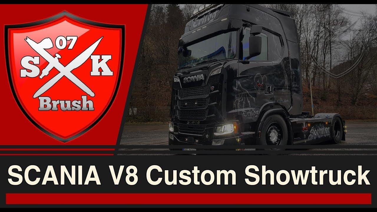 SCANIA V8 Custom Showtruck - Seeman LKW Komplettlackierung - YouTube