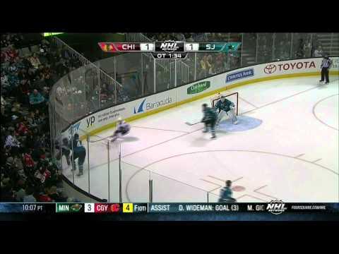 Full OT Chicago Blackhawks vs San Jose Sharks  2/1/14 NHL Hockey.