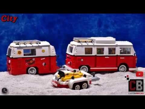 Custom CITY T1 Bus Wohnwagen Caravan Anhänger Trailer aus LEGO ® Steinen