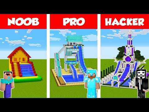 Minecraft NOOB vs PRO vs HACKER: WATER SLIDE HOUSE CHALLENGE in Minecraft / Animation