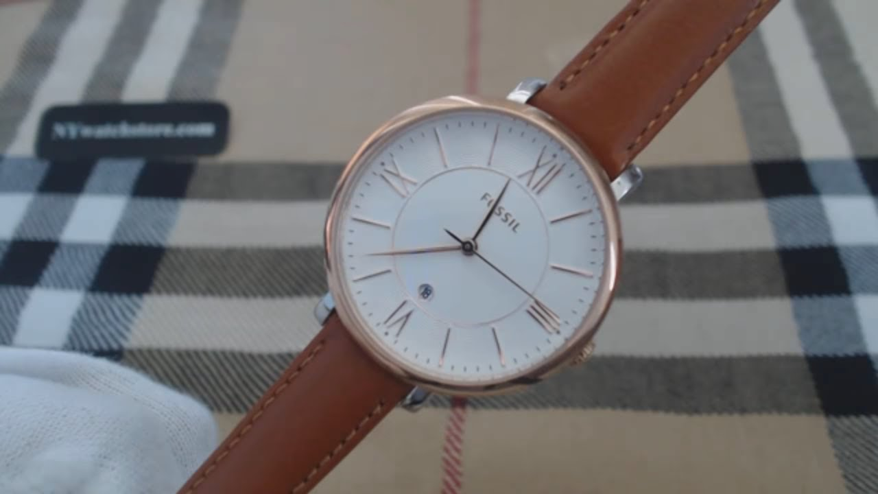 97939fa2c Women's Fossil Jacqueline Brown Leather Strap Watch ES3842 - YouTube