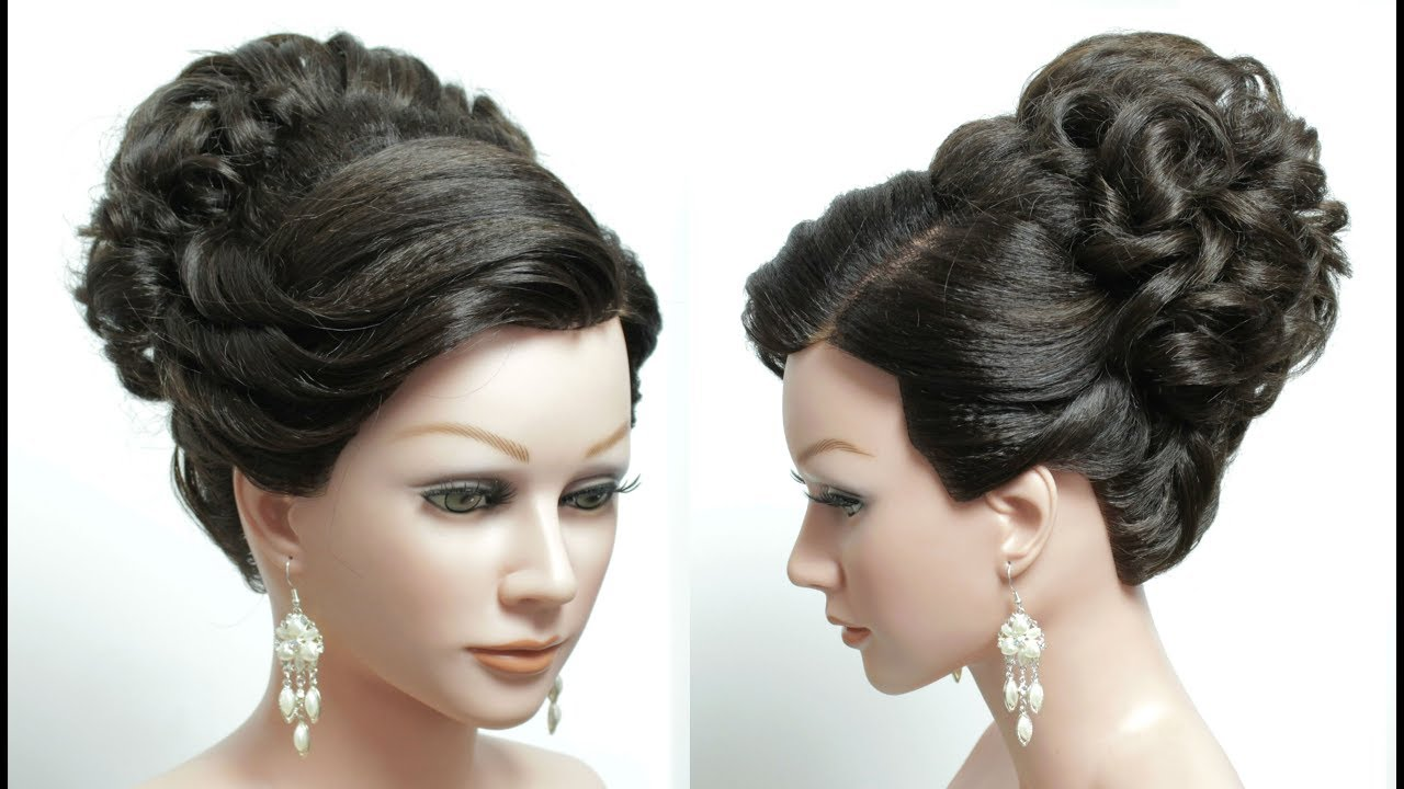 Bridal Prom Hairstyle For Long Hair Tutorial High Bun Wedding Updo
