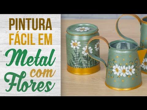 Pintura em metal com flores latinhas recicladas youtube - Pinturas para metal ...