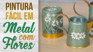 Pintura em Metal com Flores {Latinhas Recicladas}