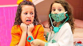 Valentina médica por um dia e salva irmã Gêmea l ♥ Pretend Play With Doctor